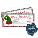 Editable Gift Certificate from Elf, Christmas Printable Gift Voucher, Nice List Gift Card from Santa, Last Minute Stocking Stuffer, INSTANT