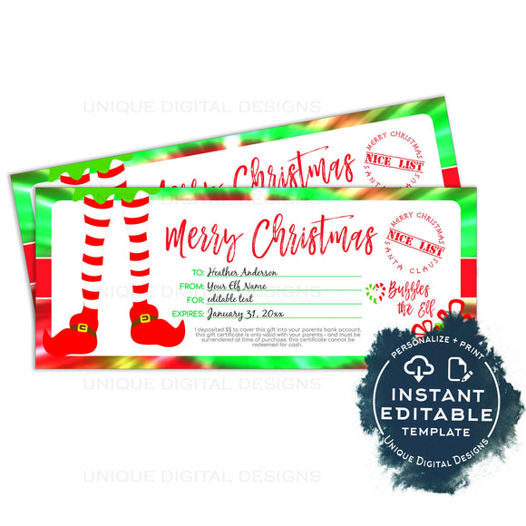 Editable Gift Certificate from Elf, Christmas Printable Gift Voucher, Nice List Gift Card from Santa, Last Minute Stocking, Tie Dye INSTANT