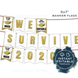 Editable New Years Banner Decorations, 2021 New Years Eve Celebration Decor Bunting Flags We Survived 2020 Printable Template INSTANT ACCESS
