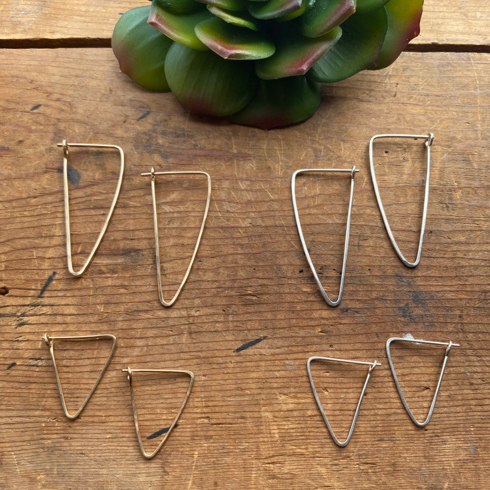(c) Christina Holland Triangle Hammered Hoops