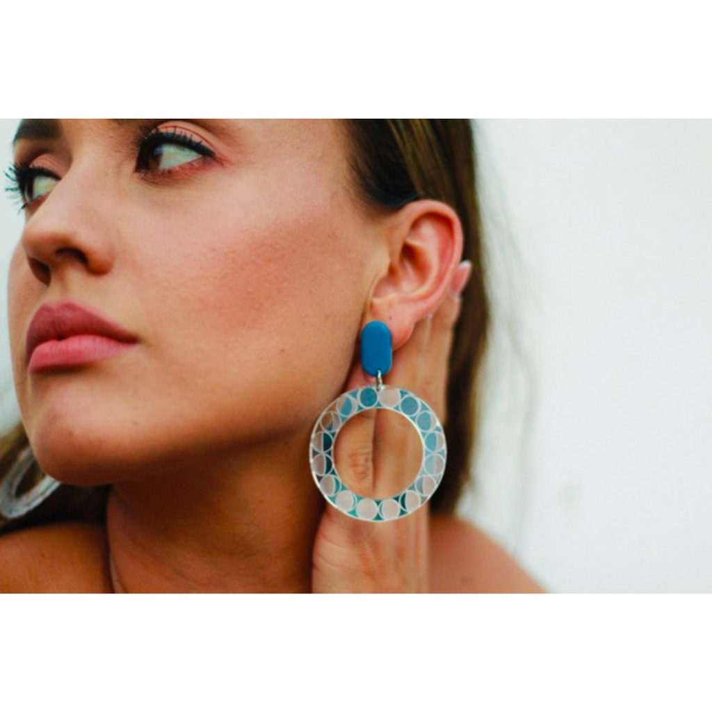 (c) Luna and Saya Lunar Phase Hoops Silver Mirror