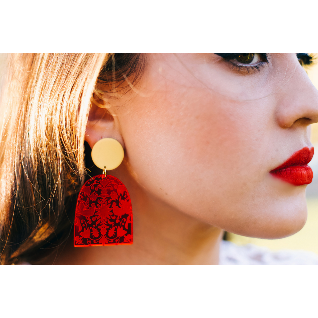 (c) Luna and Saya Ruby Red Otomi Textile earrings