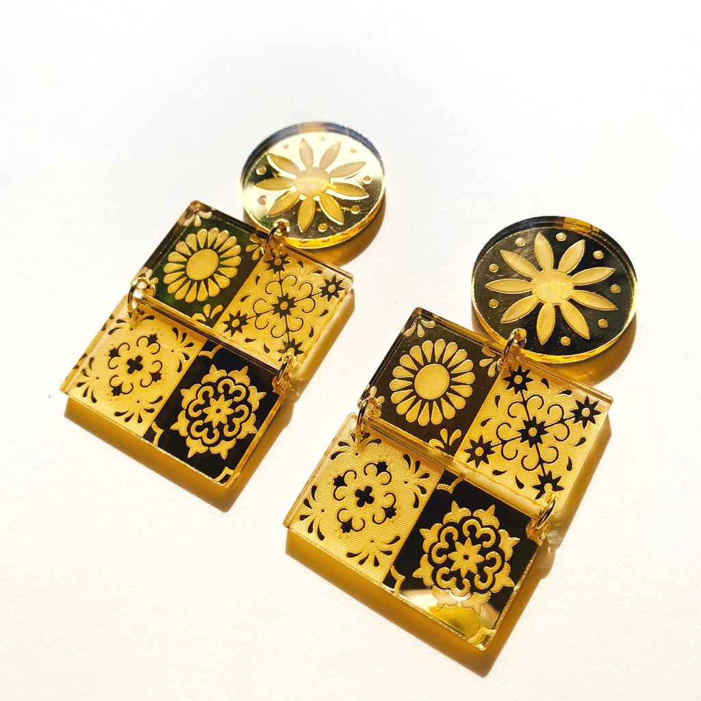 (c) Luna and Saya Talavera Tile Dangle Earrings