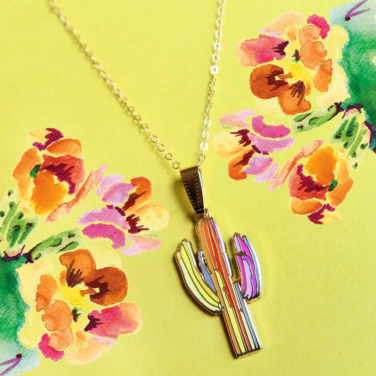 Technicolor Saguaro Pendant Necklace