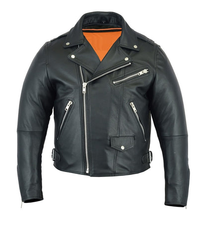 MotoArt Men's Classic Cruiser V3 Biker Leather Jacket - Discounted