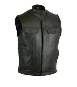 MotoArt Cowhide Leather Vest with Scoop Collar - Discounted!