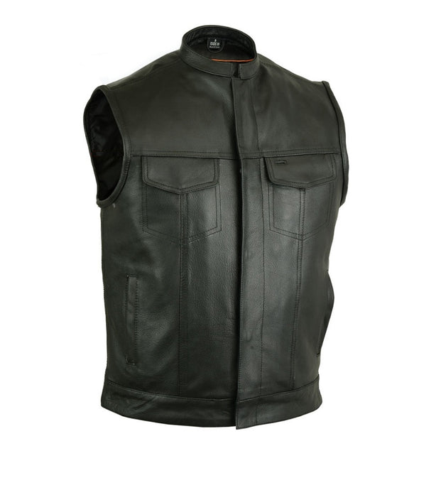 MotoArt Cowhide Leather Vest with Scoop Collar - Discounted! - MotoArt Leather