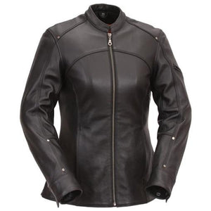 Women Black Leather 3/4 Length Touring Motorcycle Jacket - by Fadcloset