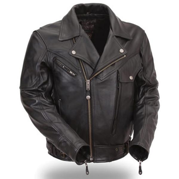 Men Premium Black Leather Motorcycle Jacket with Multiple Vents - by Fadcloset