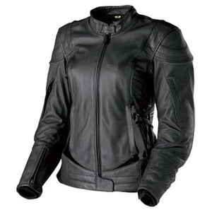 Womens Classic Black Motorcycle Jacket with Protectors - by Fadcloset
