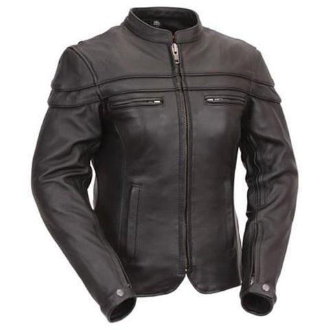 Women Black Leather Touring Motorcycle Jacket with Sleeve & Pocket Vents - by Fadcloset