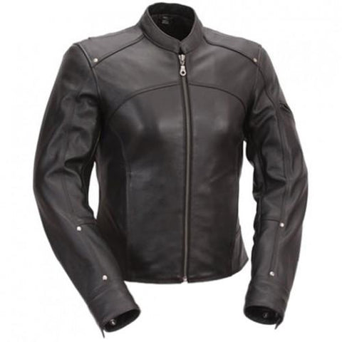 Womens Carma Black Motorcycle Jacket with Protectors - by Fadcloset