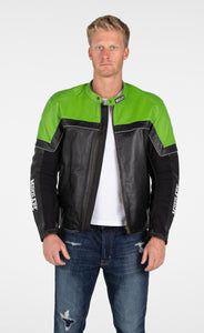 MotoArt Racing Pro Series I Green & Black Perforated Biker Motorcycle Leather Jacket - MotoArt Leather