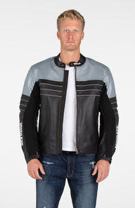 MotoArt Racing Pro Series I Silver & Black Perforated Biker Motorcycle Leather Jacket - MotoArt Leather