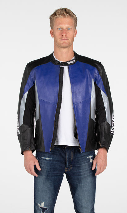 MotoArt Racing Pro Series I Blue, Silver & Black Perforated Biker Motorcycle Leather Jacket - MotoArt Leather