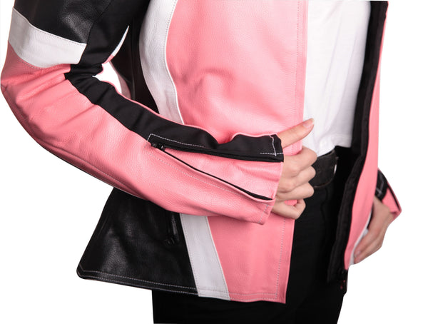 MotoArt Racing ProSeries I Pink, White and Black Women Leather Jacket - by Fadcloset