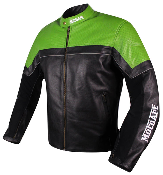MotoArt Racing Pro Series I Green & Black Perforated Biker Motorcycle Leather Jacket - by Fadcloset