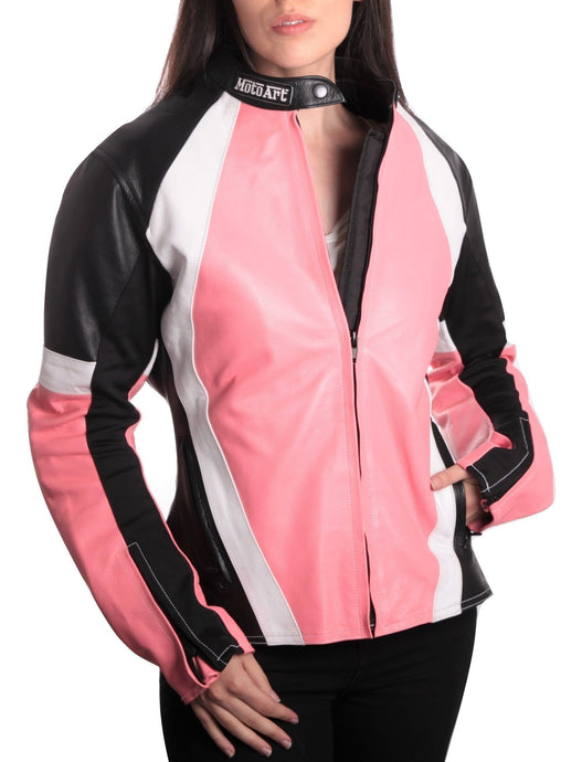 MotoArt Racing ProSeries I Pink, White and Black Women Leather Jacket - MotoArt Leather