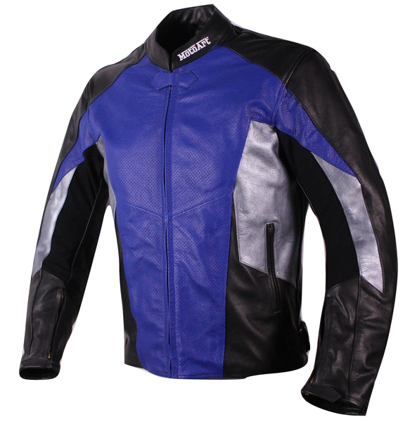 MotoArt Racing Pro Series I Blue, Silver & Black Perforated Biker Motorcycle Leather Jacket - by Fadcloset
