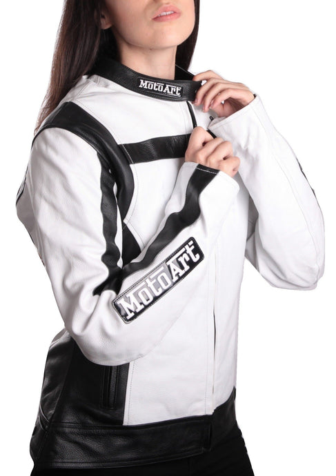MotoArt Racing ProSeries I White & Black Women Leather Jacket - MotoArt Leather