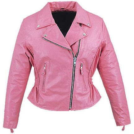 Womens Pink Cruiser Biker Jacket - by Fadcloset