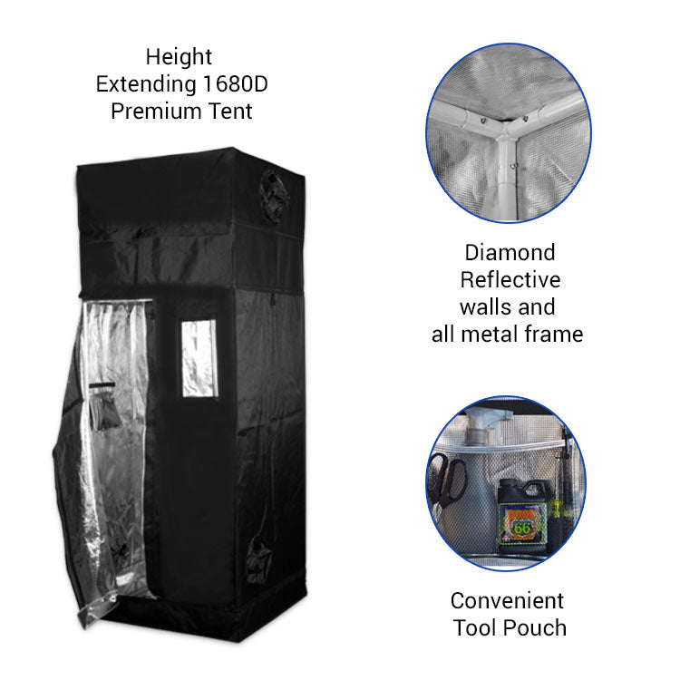 Height Extension 3' x 3' Premium Grow Tent (includes 1' free extension)