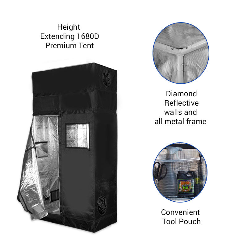 Height Extension 4' x 2' Premium Grow Tent (includes 1' free extension)