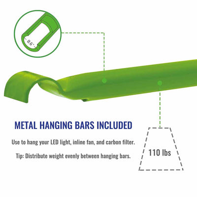 2' x 2' Indoor grow tent metal hanging bars are strong enough to hold 110 lbs of equipment.