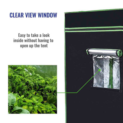 Clear observation window on grow tent to checkup on your plants without disturbing your grow environment.