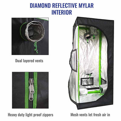 Best quality grow tents with highly reflective interiors, climate controls vents and mesh for the best grow environment.