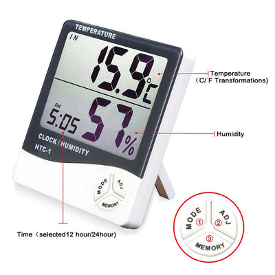 Hygrometer monitors humidity and temperature