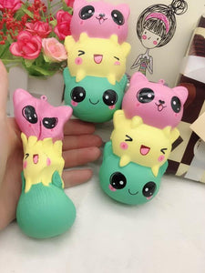 Kawaii Jumbo 14cm Kitty Face Squishy Tower