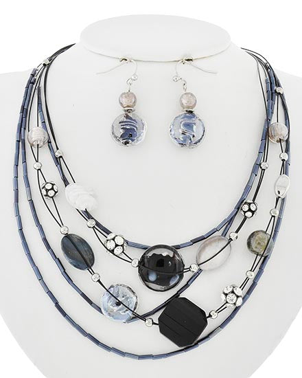 Graduated Glass, Rhinestone, Rhinestone Necklace and Earring Set - Available in 2 Colors