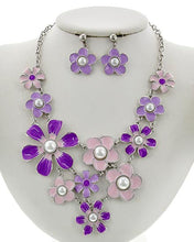 Spring Flowers Necklace and Earring Set - Available in 4 colors