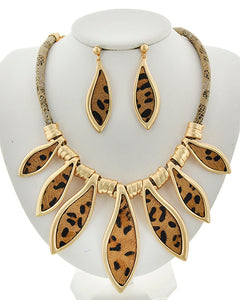 Cord & Animal Print Leaf Statement Necklace and Earring Set - Available in 2 colors