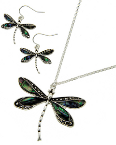 Abalone Shell Dragonfly Necklace Set