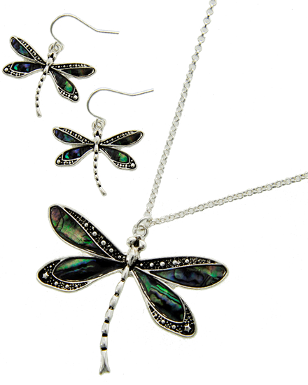 Silver Plated Dragonfly / Necklace & Earring Set