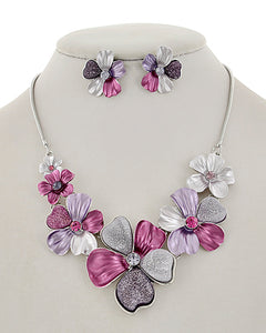 Sparkling Enamel Floral Necklace and Earring Set