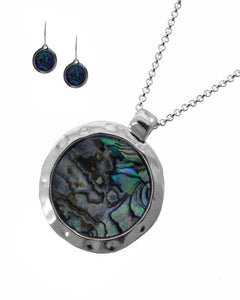 Hammered Silvertone & Abalone Necklace and Earring Set with Round Pendant