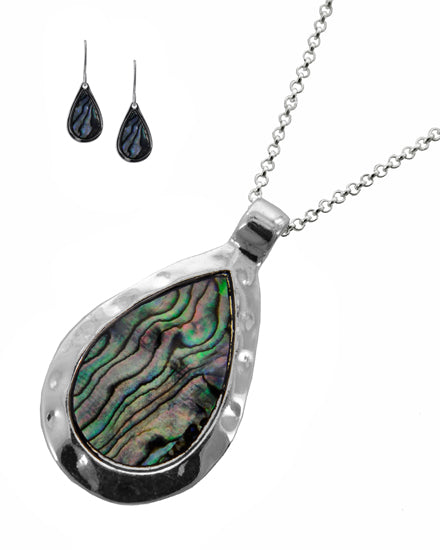 Hammered Silvertone & Abalone Necklace and Earring Set with Teardrop Pendant