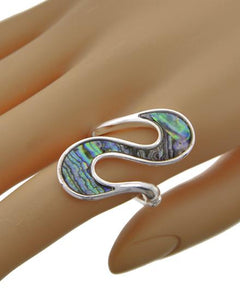 Abalone & Silvertone Stretch Ring
