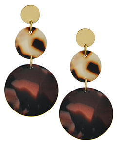 Gold Tone / Dk. Brown Round Graduating Dangle Earring Set