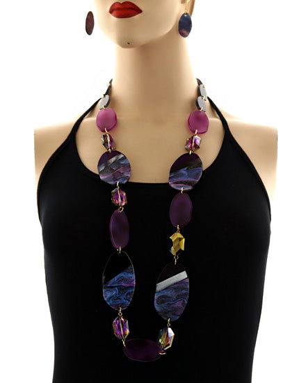 Gold Tone/ Grey/Purple/Long Necklace & Earring Set