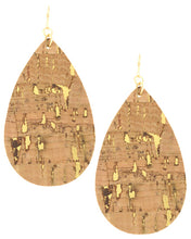 Black Cork Teardrop Dangle Earring Set