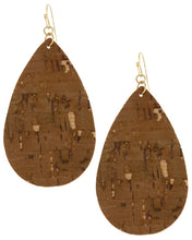 Cork Teardrop Dangle Earring Set - Available in 7 colors