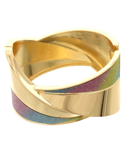 Gold Tone & Multi Color Fold-over Cuff Bracelet