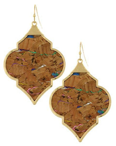 Cork Inlay Diamond Shape Earring Set