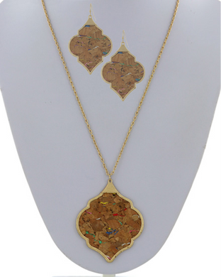 Cork Pendant Long Necklace - Matching Earring Set Available