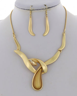 Matte Metal Statement Necklace & Earring Set - Available in 4 colors