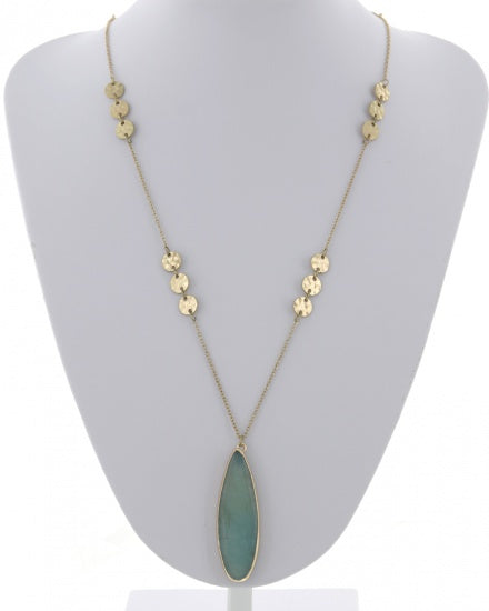 Long Disc Necklace with Pendant - Available in 11 colors